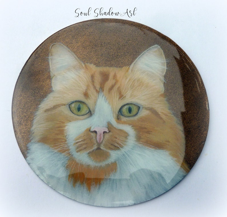 Personalized square coasters with cat portrait from photo Blue Floral Wreath