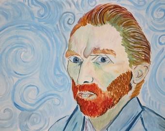 Vincent Van Gogh portrait Original watercolor painting