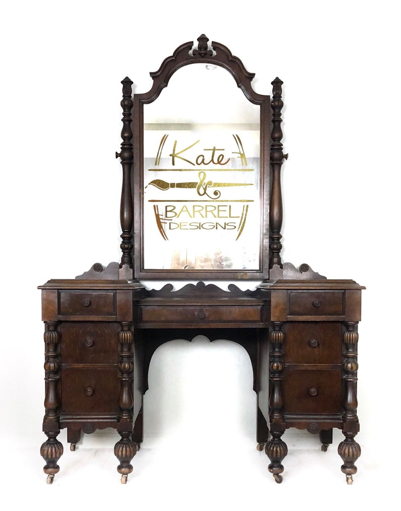 Vintage Jacobean Vanity With Ornate Mirror Etsy