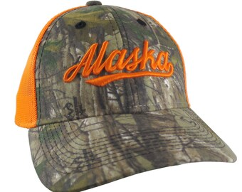Alaska Orange 3D Puff Raised Embroidery Design on an Adjustable Realtree Camo Structured Classic Trucker Mesh Cap