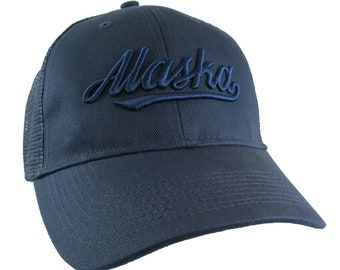 Alaska State 3D Puff Raised Navy Blue Embroidery Design on an Adjustable Structured Classic Navy Blue Trucker Cap