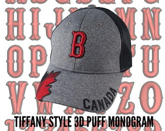 Your Custom Personalized 3D Puff Monogram Embroidery on an Adjustable Heather Grey and Black Trucker Style Baseball Cap Buffalo Plaid Touch
