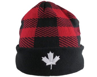 Canadian White Maple Leaf 3D Puff Embroidery on a Red and Black Cuff Toque in Buffalo Check Plaid Lumberjack Knit Pattern