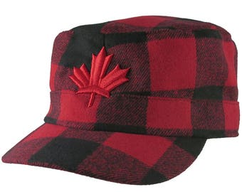 Red Maple Leaf 3D Puff Embroidery Red + Black Buffalo Check Plaid Lumberjack Military Flat Cap Style Full Fit Winter Adjustable Woolen Hat