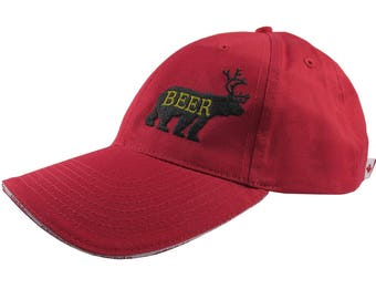 Deer Plus Bear for Beer Humorous Black Embroidery on an Adjustable Canada Themed Red Structured Fashion Baseball Cap