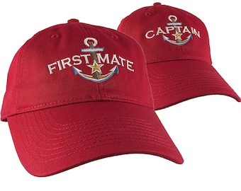Nautical Star Anchor Captain and First Mate Embroidery 2 Adjustable Cranberry Red Unstructured Baseball Caps + Options Personalize Both Hats