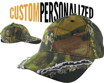 Custom Personalized Safety Orange Embroidery on an Adjustable Full Fit Mossy Oak Camo Baseball Cap Your Choice of 16 Front Decors Hunt Fish