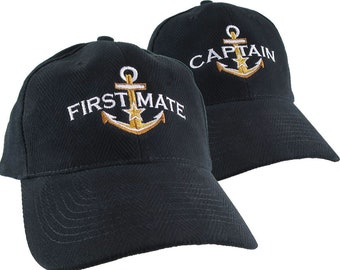 First Mate and Captain Duo Star Anchor Embroidery Adjustable Black Structured Low Profile Herringbone Cotton + Options to Personalize