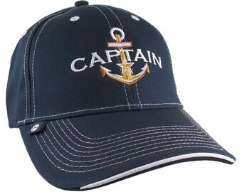 Nautical Star Golden Anchor Boat Captain Embroidery on an Adjustable Navy  Blue Structured Baseball Cap with Options to Personalize The Hat aef7e26b5175