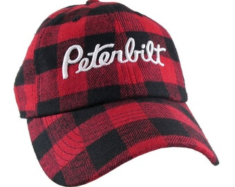 Peterbilt Truck 3D Puff Embroidery on Adjustable Red Buffalo Check Structured Baseball Cap + Options to Personalize This Hat for a Trucker