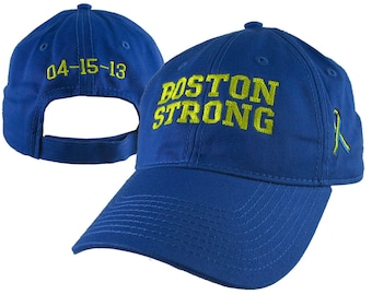 Boston Strong Ribbon Remembrance with 3 Embroidery Locations on an Adjustable Royal Blue Unstructured Low Profile Classic Baseball Cap