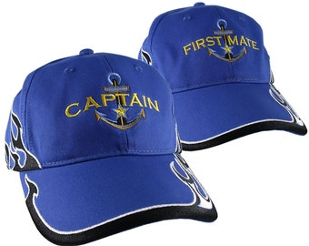 Nautical Star Golden Anchor Captain + First Mate Embroidery 2 Adjustable Royal Blue Structured Flames Baseball Caps +Personalize Back Option