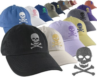 Custom Skull Crossbones Pirate Your Color Choice Embroidery on Your Selection of 1 Adjustable Unstructured Baseball Cap Dad Hat Style Poison