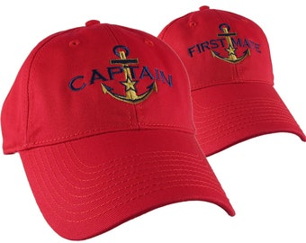Nautical Star Anchor Captain and First Mate Embroidery 2 Adjustable Vibrant Red Unstructured Baseball Caps + Options Personalize Both Hats