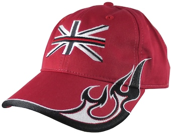 Black UK Flag Thin Red Line Firefighter Embroidery on an Adjustable Red Structured Racing Flames Baseball Cap with Options to Personalize