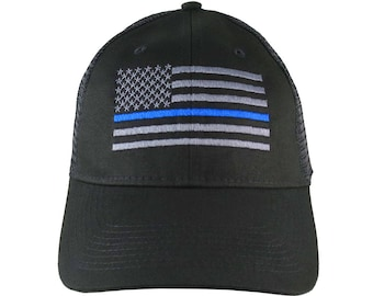 An American Thin Blue Line US Flag Embroidery on an Adjustable Black Structured Adjustable Trucker Style Mesh Cap