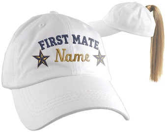 Your Name First Mate Nautical Stars Embroidery on an Adjustable White Unstructured Open Ponytail Women Fashion Baseball Cap