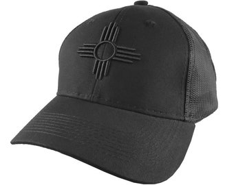 New Mexico State Flag Symbol Black 3D Puff Raised Embroidery Design on an Adjustable Structured Classic Black Trucker Cap