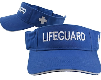 Lifeguard Embroidery on an Adjustable Royal Blue and White Trim Visor Cap