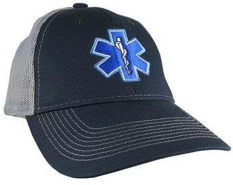Paramedic EMT EMS Star of Life Embroidery on an Adjustable Navy Blue and Silver Grey Structured Premium Trucker Cap