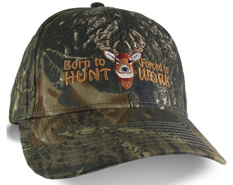 Born to Hunt Forced to Work White tail Deer Buck Embroidery Adjustable Structured Green Woodsman Camouflage Classic Baseball Cap and Options