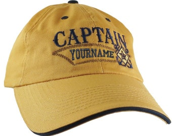 Nautical Star Crossed Anchors Boat Captain and Crew Personalized Embroidery Adjustable Mango Yellow and Navy Unstructured Ball Cap Options