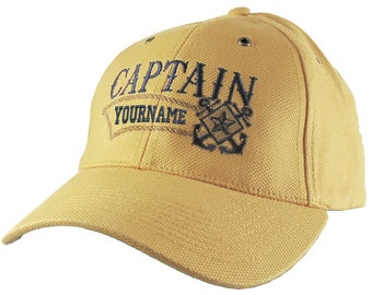 Nautical Star Crossed Anchors Boat Captain and Crew Personalized Embroidery Adjustable Mango Yellow Structured Baseball Cap with Options
