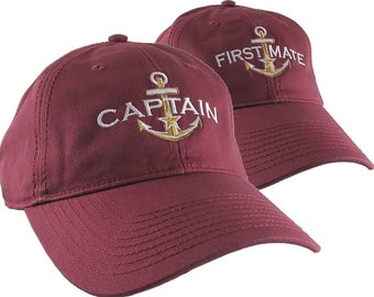 Nautical Star Golden Anchor Captain and First Mate Embroidery 2 Adjustable Burgundy Unstructured Baseball Caps Options Personalize Both Hats