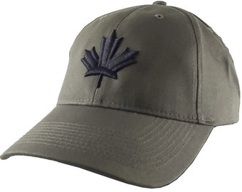 Canada Canadian Black Maple Leaf 3D Puff Embroidery Adjustable Khaki Green Structured Baseball Cap with Options to Personalize Side Back