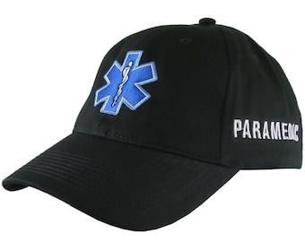 Paramedic EMT EMS Star of Life Embroidery on an Adjustable Black Soft Structured Premium Baseball Cap with Option to Personalize the Back