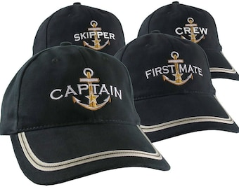 Nautical Star Anchor Captain and Crew Embroidery Adjustable Black Soft Structured Baseball Cap Options to Personalize Boat Name