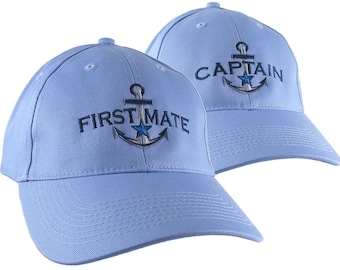 Nautical Blue Star Anchor Captain and First Mate Embroidery 2 Adjustable Sky Blue Structured Baseball Caps and Options Personalize Both Hats