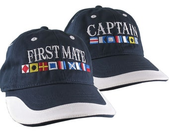 Captain and First Mate Nautical Flags Couple Embroidery on Adjustable Navy Blue and White Unstructured Baseball Caps Options to Personalize