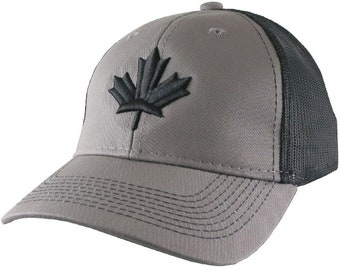 Canada Canadian Black Maple Leaf 3D Puff Raised Embroidery on an Adjustable Charcoal Black Structured Trucker Mesh Cap