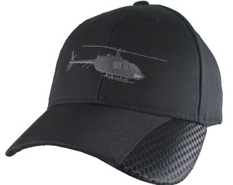 Helicopter Embroidery on Adjustable Structured Full Fit Classic Black Carbon Fiber Style Trimmed Baseball Cap with Personalization Options