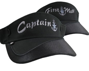 Captain and First Mate Nautical Silver Star Anchor Embroidery Couple Black Visors Duo Adjustable Elegant Fashion Sun Hats