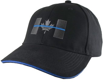 Canadian Thin Blue Line Canada Police Symbolic Embroidery on an Adjustable Black Blue Trimmed Structured Adjustable Baseball Cap and Options