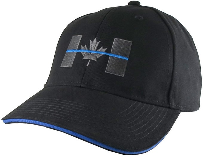Featured listing image: Canadian Thin Blue Line Canada Police Symbolic Embroidery on an Adjustable Black Blue Trimmed Structured Adjustable Baseball Cap and Options