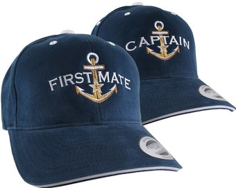 2 Hats Nautical Golden Star Anchor Captain + First Mate Embroidery Adjustable Navy Blue White Trim Structured Yupoong Baseball Caps +Options