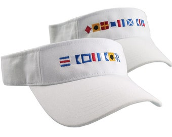 Captain and First Mate done in Nautical Flags Embroidery Couple White Visors Duo Adjustable Comfy Fashion Sun Hats