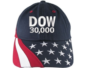 NYSE Hat Dow 30000 Stock Broker Custom Embroidery Adjustable Navy Blue Unstructured Stars and Stripes Baseball Cap + Personalization Options