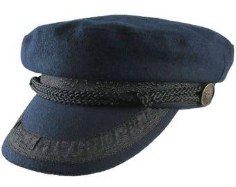 Navy Blue Melton Greek Fisherman's Fashion Cap Size Large