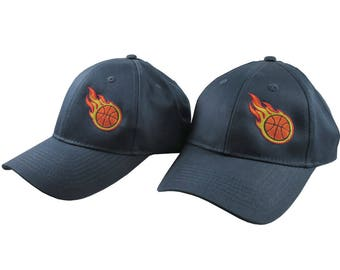 A Pair of Sporty Basketball Fire Bullet Embroidery Designs on 2 Navy Blue Adjustable Structured Baseball Caps for Adult + for Child Age 6-14