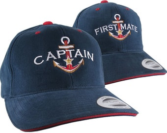 2 Hats Nautical Golden Star Anchor Captain + First Mate Embroidery Adjustable Navy Blue Red Trim Structured Yupoong Baseball Caps + Options