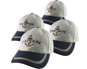 Nautical Star Anchor Captain and Crew Embroidery Adjustable Navy Blue and Beige Structured Baseball Cap Options to Personalize Boat Name