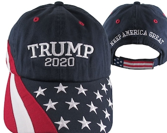 Donald Trump US Elections 2020 Embroidery on Adjustable Navy Blue Unstructured Stars and Stripes Baseball Cap Keep America Great