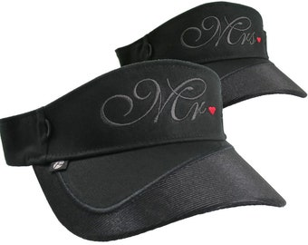 Mr. and Mrs. Embroidery Newlyweds Couple on a pair of Black Visors Duo Adjustable Elegant Fashion Sun Hats