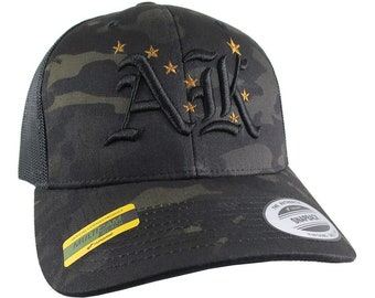 3D Puff Black AK Raised Embroidery and Alaska State Flag Adjustable Black Multicam Structured Premium Mid-Profile Yupoong Trucker Mesh Cap