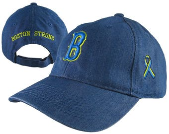 Boston Strong Ribbon Remembrance 3D Puff + 3 Locations Embroidery on an Adjustable Blue Denim Structured Full Fit Baseball Cap