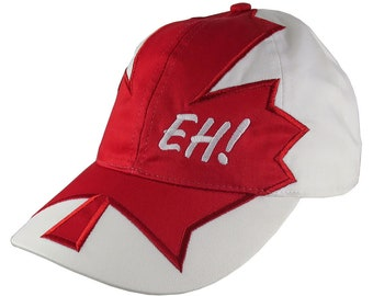 Canadian Expression Eh! Red Maple leaf Applique on Adjustable Unstructured Classic Fit Baseball Cap Dad Hat Canada + Option to Personalize